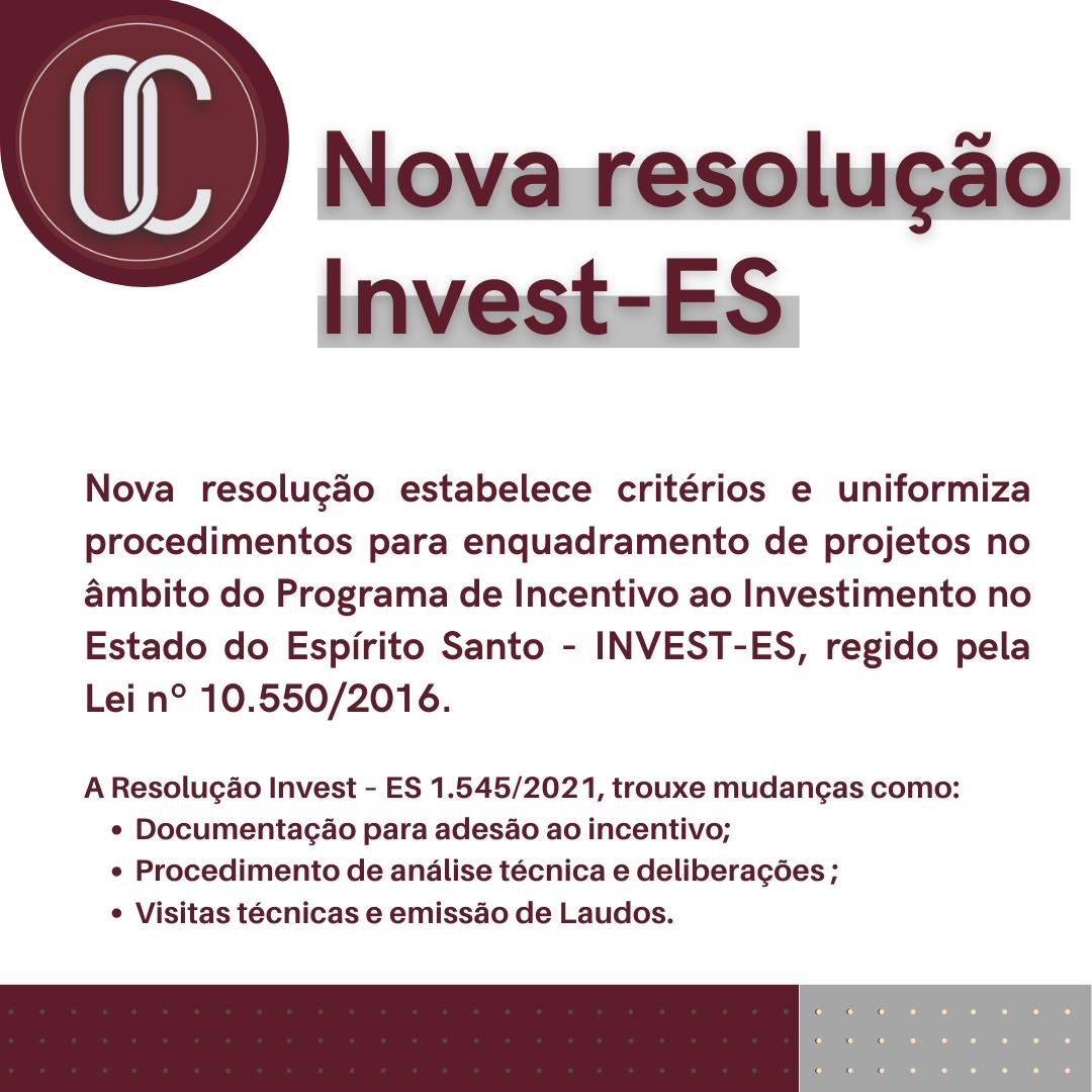Nova resolução Invest-ES